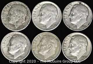 (6) U.S. Silver Dimes: 5-1951; 1-1952