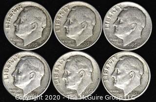(6) U.S. Silver Dimes: 4-1951; 2-1952