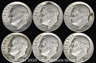 (6) 1952 U.S. Silver Dimes