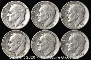 (6) 1952 Silver U.S. Dimes