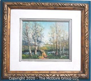Oil on Board in Gilt Frame of Landscape Signed by Artist Yuitar