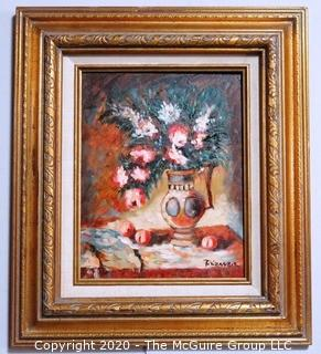 Oil on Board in Gilt Frame of Still Life Signed by Artist Tizzaner