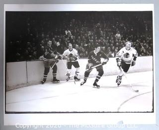 Black & White Large Format Photograph by A. Rickerby - Hockey Game with Bobby Hull, Jean Ratelle & Keith Magnuson