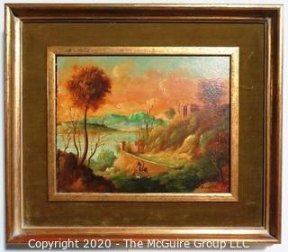Oil on Board in Gilt Framed Landscape Painting Signed by Artist Alineri