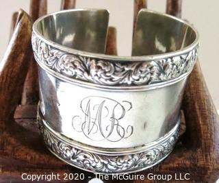 Tiffany Sterling Silver Monogrammed Napkin Ring Cut to be a Cuff Bracelet