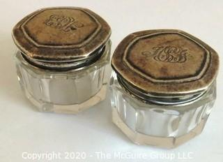 Pair of Two Antique Wallace & Son Sterling Silver & Cut Crystal Vanity Powder Jars with Monograms.
