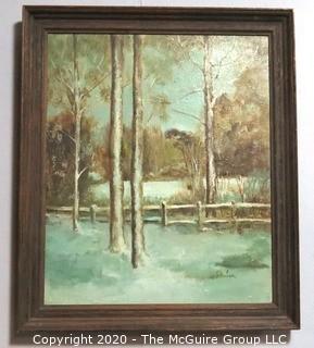 Vintage Framed Oil on Canvas Winter Landscape Signed by Artist J. Harlan