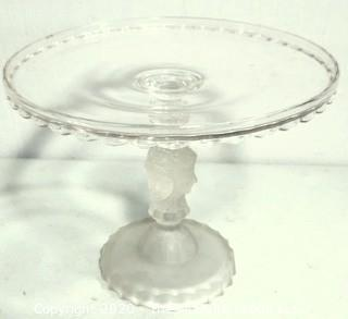 "Victorian Pressed Glass Pedestal Cake Stand Three Faces by DUNCAN & MILLER. Measures approximately 10"" in diameter with some small flea bites."