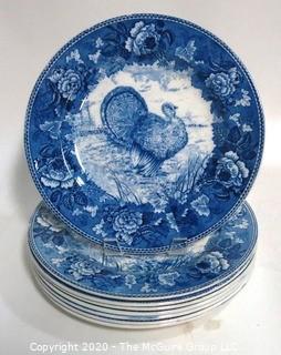 Set of 8 Wedgwood Blue & White Transfer Turkey Dinner Plates