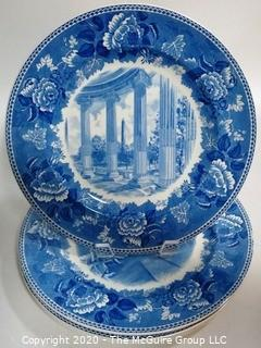 Set of 4 Blue & White Transfer Fine Porcelain Plates by Wedgwood - Washington Bicentennial Plates