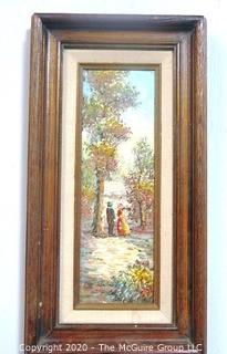 "Framed Oil on Canvas Signed by Impressionist Artist Alan Walters.  A Walk in the Woods. Measures Approx. 9"" x 17"""