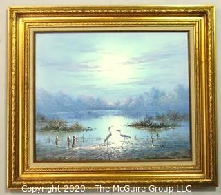 "Gilt Framed Oil on Canvas Painting of Herons on Water Signed by Artist and Measures approximately 32"" x 28"" with Frame"