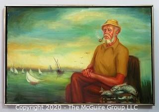 "Large Framed Oil on Canvas of Fisherman on Pier, Signed by Artist.  Measures approximately 25"" x 36""."