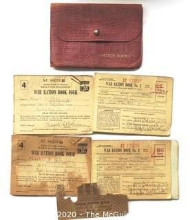 Vintage WWII 1943 War Ration Books in Leather Case