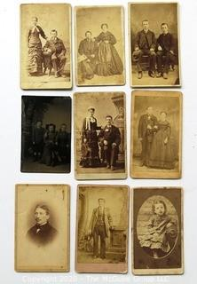9 Vintage Cabinet Cards and Tin Type Photographs