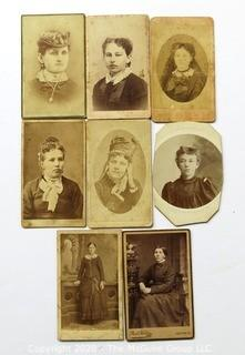 Group of 8 Antique Cabinet Cards Photographs