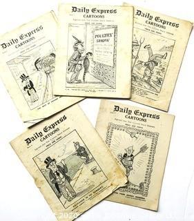 Five Antique 1914 Copies of the Daily Express Cartoons, UK Political Cartoons