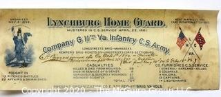 1861 Lynchburg Home Guard Mustered in CS Service Document, Company G 11th Va Infantry CS Army