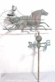 """Antique Copper Trotting Horse and Sulky Buggy Weather Vane; 32""""W x 45""""T"""