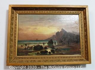 """Gilt Framed Oil Painting of Landscape.  Measures approximately 22"""" x 16"""". Some damage to paint."""