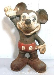 Antique Cast Iron Mickey Mouse Coin Bank or Doorstop.
