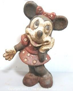 Antique Cast Iron Minnie Mouse Coin Bank or Doorstop.
