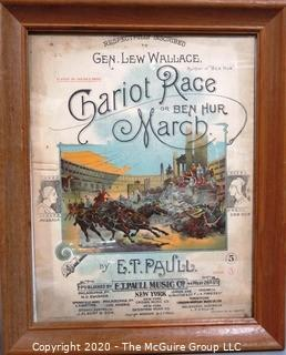 Framed 1894 Antique Color Lithograph E.T.Paull Piano Sheet Music - Chariot Race Or Ben Hur March