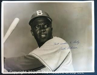 "11 x 14"" Original Black & White Photograph of Jackie Robinson, signed, with Personal Message ""Best Wishes to Ricky"". Baseball Memorabilia Autograph"