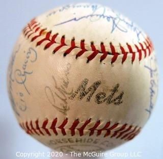"Updated (10/29) Signed 1962 Inaugural First Year New York Mets Team Ball, Spalding. List of 27 signatures provided from collection of Clifford Evans, print and broadcast journalist and sports editor of the TODAY show on NBC (period piece, excellent condition). Shows team name ""Mets"" in the ""second sweet-spot"""