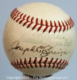 "Official American League ""Joseph E. Cronin"" Ball: Signed.  Baseball Sports Memorabilia from collection of Clifford Evans (period piece, unauthenticated, excellent condition)."