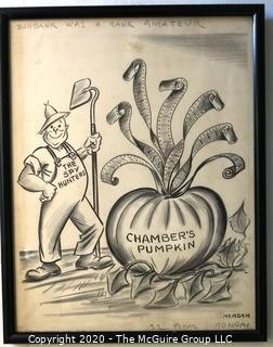 "Framed Original Mockup of Later Printed Political Cartoon - Wittiker Chambers - Pumpkin Papers by Anne B Mergen for Cox News Chain, 1948. Measures approximately 12"" x 15"". Signed original art by the artist.(from the personal collection of Clifford Evans, journalist)"