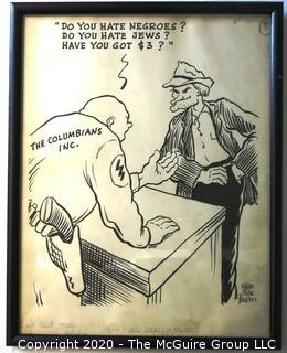 "Framed Original Mockup of Later Printed Political Cartoon, ""White Power - The Columbians Inc."" by Stan MacGovern for the NY Post, 1946.  Measures approximately 12"" x 15"". Signed original art by the artist.(from the personal collection of Clifford Evans, journalist)"