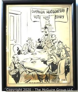 "Framed Original Mockup of Later Printed Political Cartoon ""Politico-Sweeney for Alderman"" possibly by Dick Tornelo? for NEA Services, 1948. Measures approximately 12"" x 10"". Original art 1942(from the personal collection of Clifford Evans, journalist)"