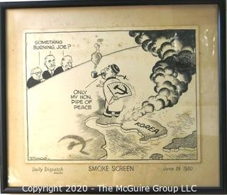 "Framed Original Mockup of Later Printed Political Cartoon - Stalin / Korea by George Butterworth, for Daily Dispatch, 1950. Measures approximately 17"" x 14"". Original art 1950(from the personal collection of Clifford Evans, journalist)"