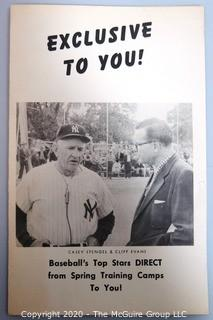 Order Form from Clifford Evans to radio stations nationwide offering his spring training interview tapes with the likes of Casey Stengel, Ted Williams, Micky Mantle, Walter Alston and Stan Musial