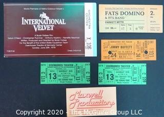 Group of Ticket & Concert Stubs.  Includes Fats Domino and Jimmy Buffet