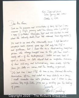Robert Ginsberg (husband of Ruth Bader Ginsberg) hand written letter of condolence to Clifford Evans spouse, Ruth Evans, 1983.