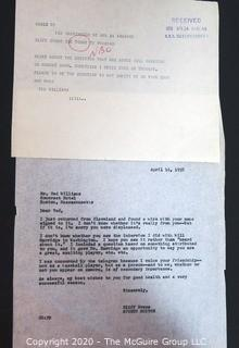 Telegram from Ted Williams to TODAY show sports editor Clifford Evans expressing his displeasure with how he was treated in an interview; and letter from Evans in response to Williams dated two days after receiving the telegram, April 16, 1958.  Baseball Memorabilia.