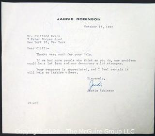 1962 Letter from Jackie Robinson to Clifford Evans; Signed.  Baseball Memorabilia Autograph