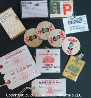 "Collection of U.S. Presidential Press Badges, Cassette Tape of President Nixon's ""Get Well"" Tape to Ruth Evans, and ""Draft Ted"" stickers.  US Presidential Political Memorabilia"