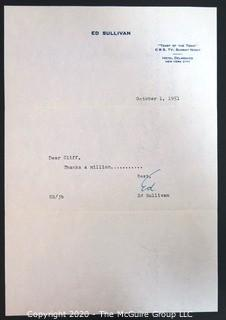 1951 Letter from Ed Sullivan to Clifford Evans; Signed.  Celebrity Memorabilia