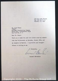 Leonard Bernstein letter of thanks to Clifford Evans, NBC's TODAY Show; Signed