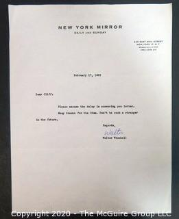 Letter from New York radio and press commentator Walter Winchell to Clifford Evans on New York Mirror Letterhead; Signed.  Journalism Memorabilia.