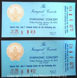 January 19, 1973 concert tickets at the John F. Kennedy Center for the Performing Arts, in honor of President Nixon's second term. US Presidential Political Memorabilia.