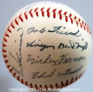 1960 Pittsburgh Pirates Souvenir Team Baseball, sold at stadium. See list of signatures. From collection of Clifford Evans.
