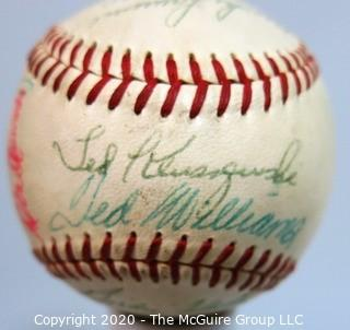 Signed 1956 Official All Star National League Ball, All Star Game. Spalding.:Williams, Aaron, Musial, Spahn, Drysdale,+++ from collection of Clifford Evans (period piece, excellent condition).