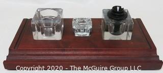 Heavy Crystal Glass Double Inkwell Desk Set