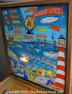 "Limited Production 1956 ""Harbor Lites"", D. Gottlieb & Co. Electromechanical Pin Ball Machine, working condition, restored. 55""Long x 65""Tall at back x 26""Wide. Entertainment, Games"