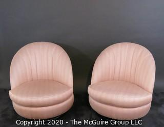 Pair of Channel Back Upholstered Swivel Tilt Chairs of the Art Deco Style; made by Thayer Coggin, Inc. 1986. 30W x 31.5T x 22.5D