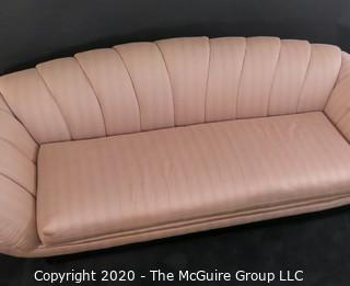 "Like New Channel Back Upholstered Sofa of the Art Deco style; made by Thayer Coggin, Inc.; 94""W x 31""T (at back). Furniture"